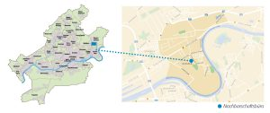 Karte als Wegweiser zum Quartier Fechenheim